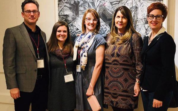 From left to right, PhD candidates Chris Jeansonne, Audrey Reeves and Rebecca Turk with Dr.'s Shari Savage and Dana Carlisle Kletchka at GRAE 2018, hosted by Teachers College
