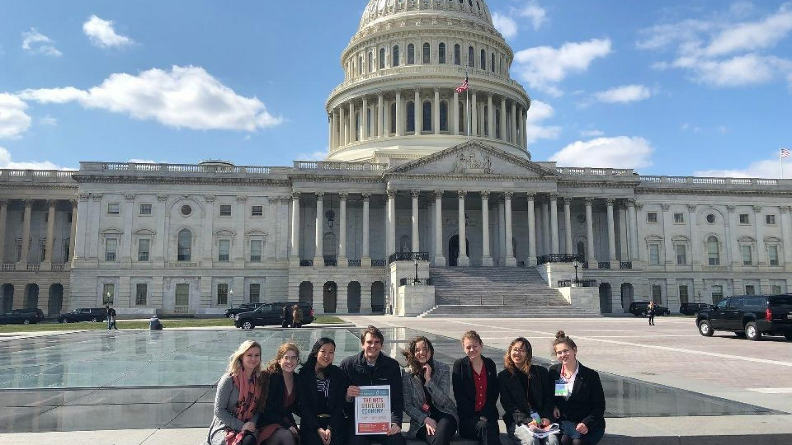 AAEP students outside the Capitol Building in Washington, DC for Arts Advocacy Day 2018